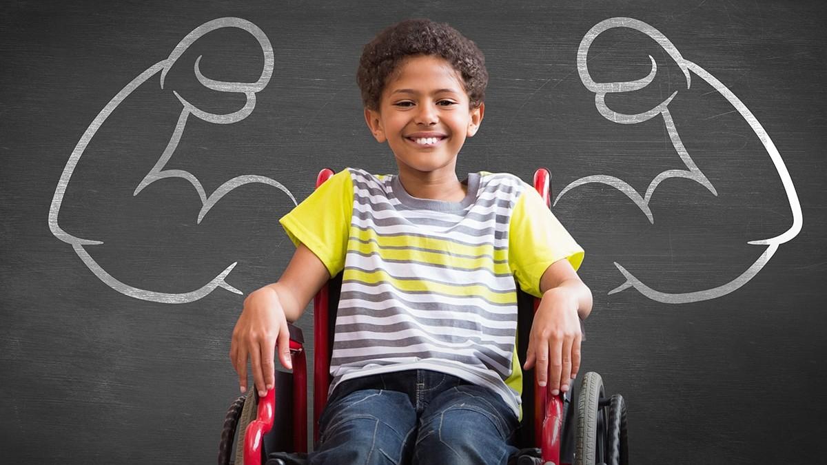 Smiling child in wheelchair